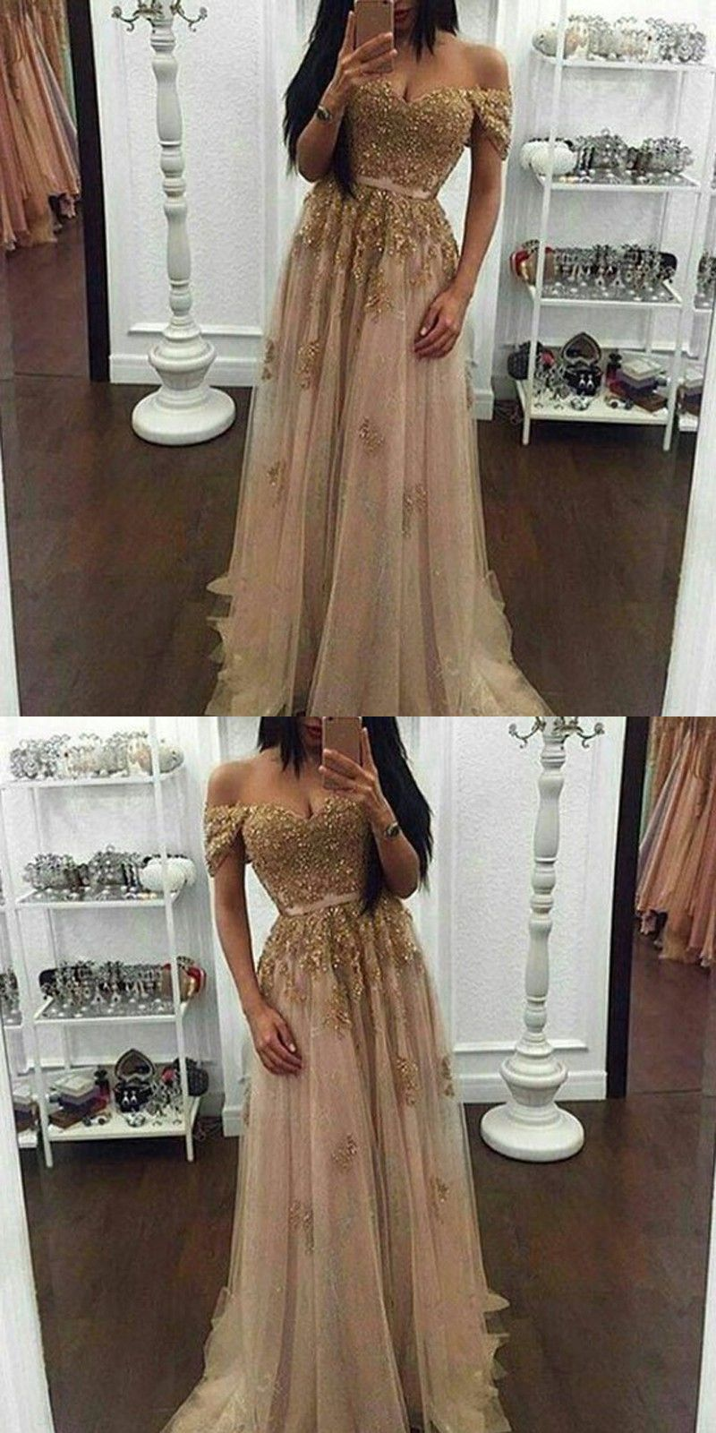 Modern pearl pink prom dress off shoulder short sleeves beaded
