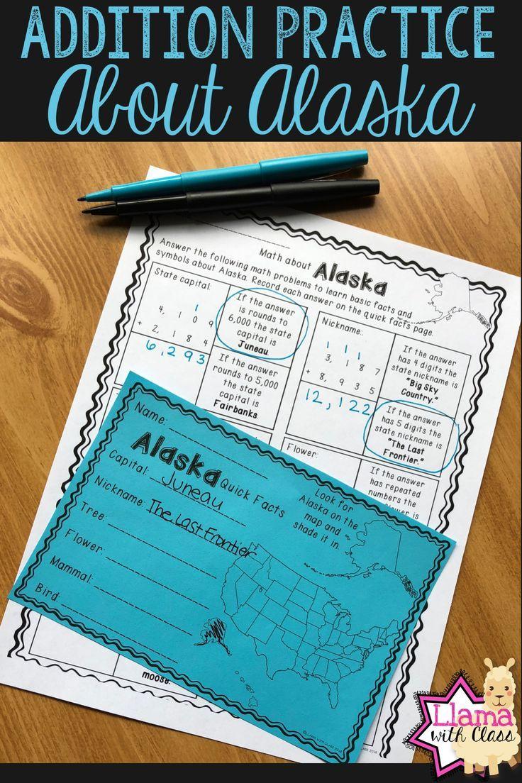 Math About Alaska State Symbols Through Addition Practice