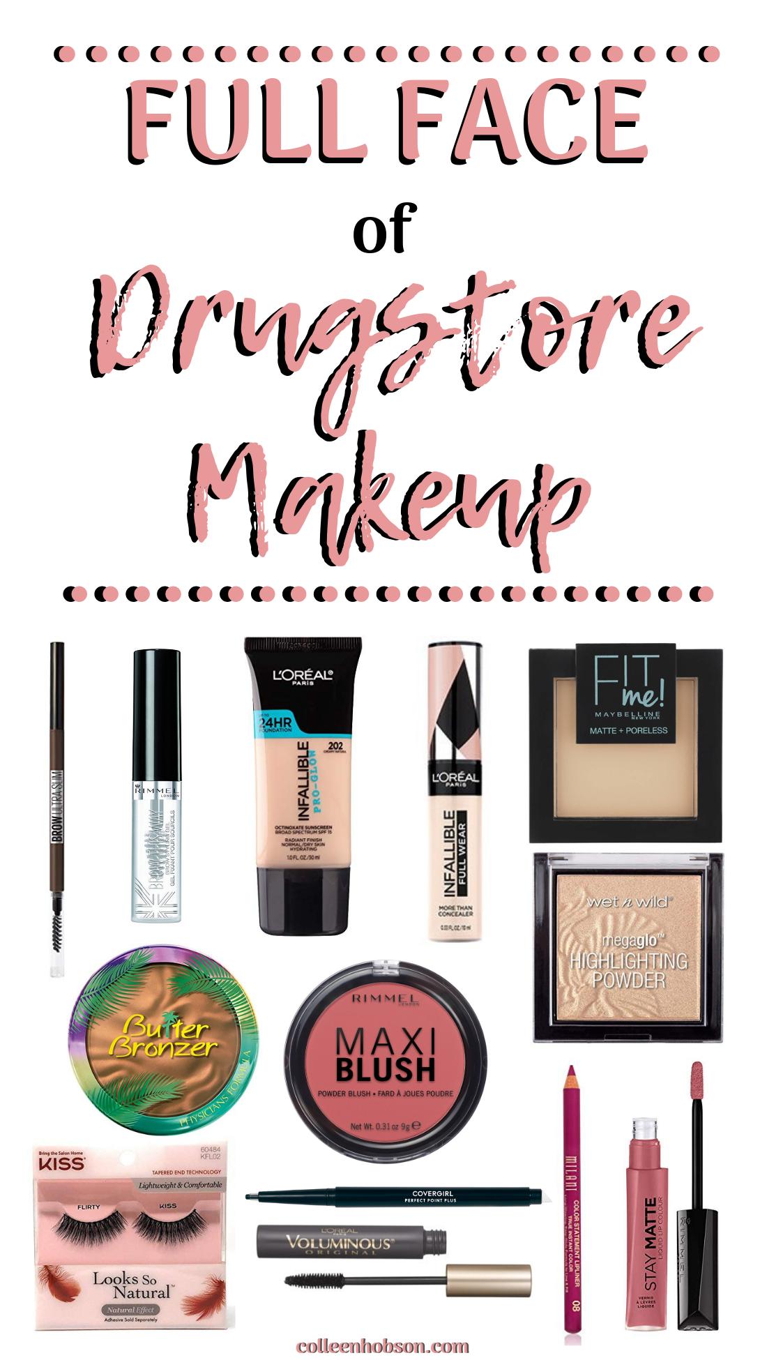 Drugstore Makeup Routine Full Face Tutorial Colleen Hobson Drugstore Makeup Tutorial Drugstore Makeup Full Face Makeup