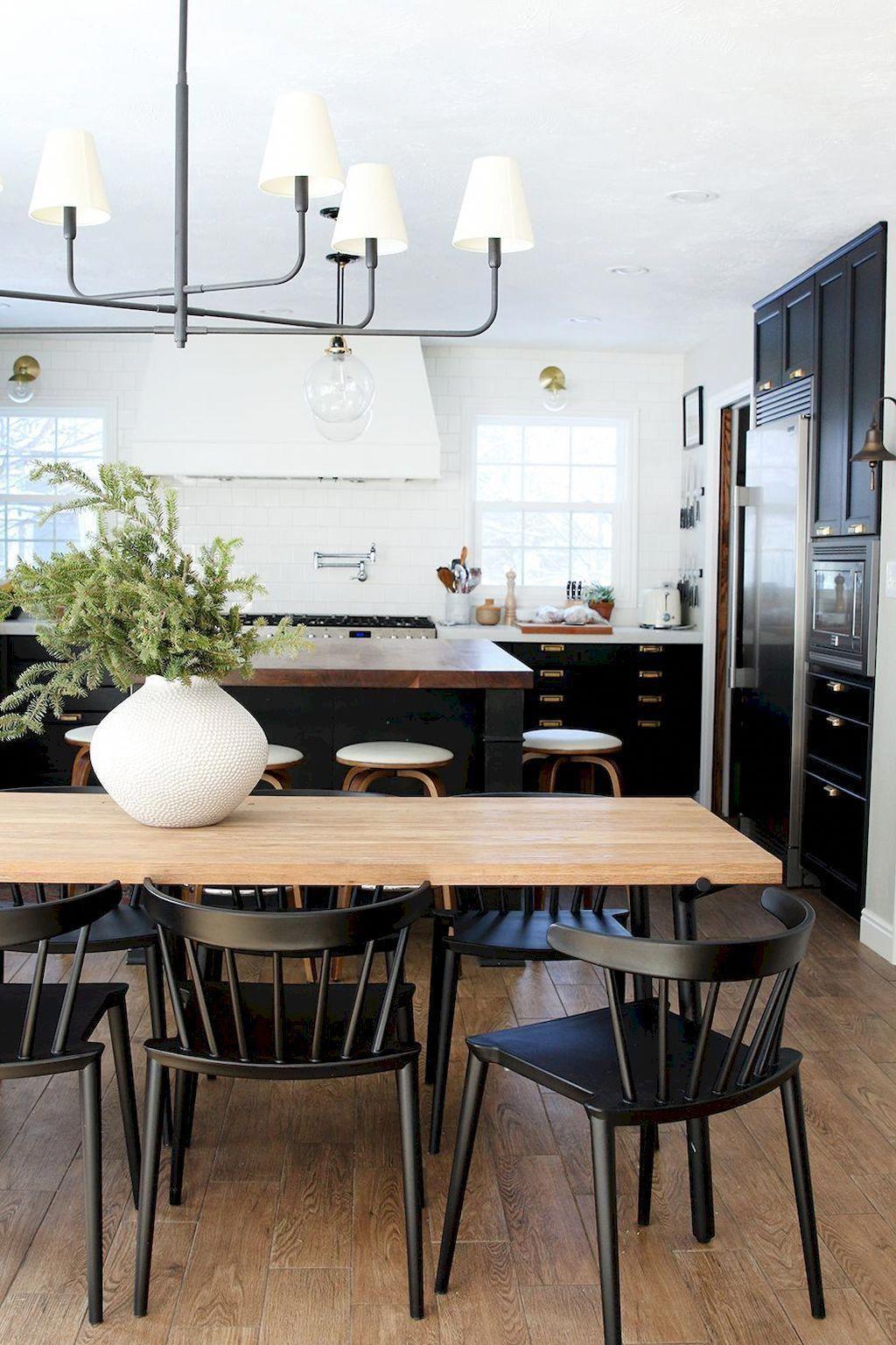 54 gorgeous black and white dining areas for your home 51 farmhousekitchen farmhouse on farmhouse kitchen black and white id=70804