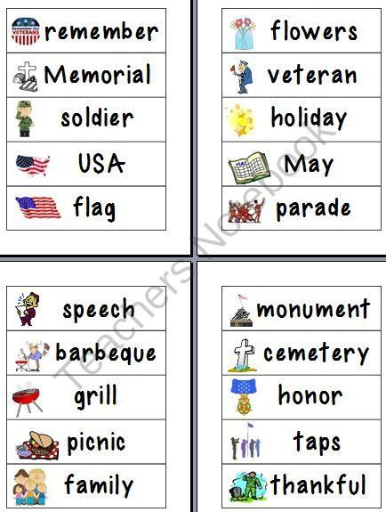 memorial day word wall vocabulary free from 1 2 3 creations by l