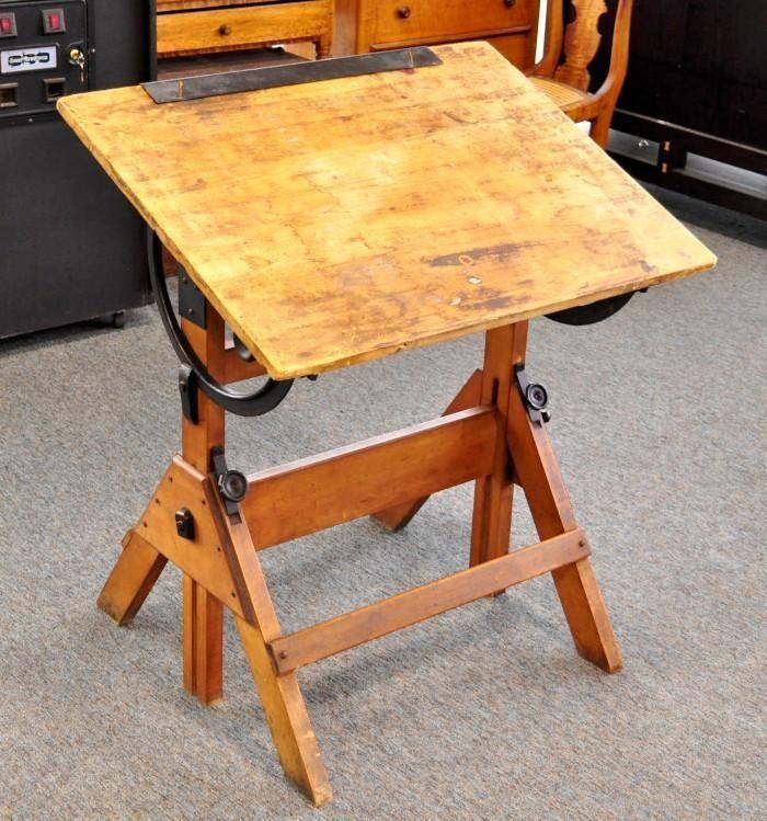 Vintage Table Hardware : Antique hamilton economy drafting table wood cast iron vintage