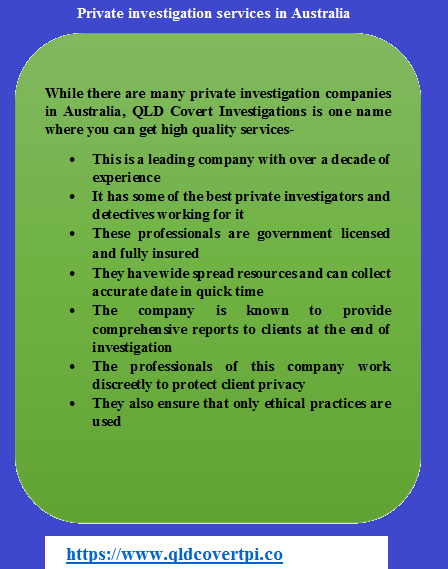While There Are Many Private Investigation Companies In Australia