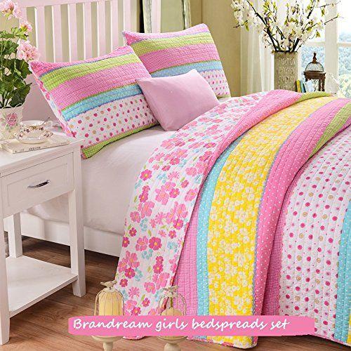 Brandream Twin Size Pink Polka Dot Stripe Floral Quilt Set ... : twin size quilt sets - Adamdwight.com