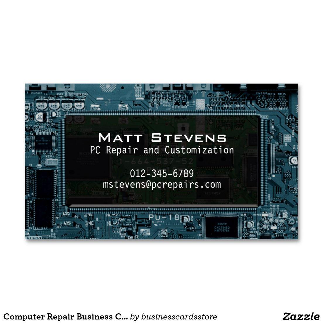 Computer Repair Business Card Circuits Window | Computer repair ...