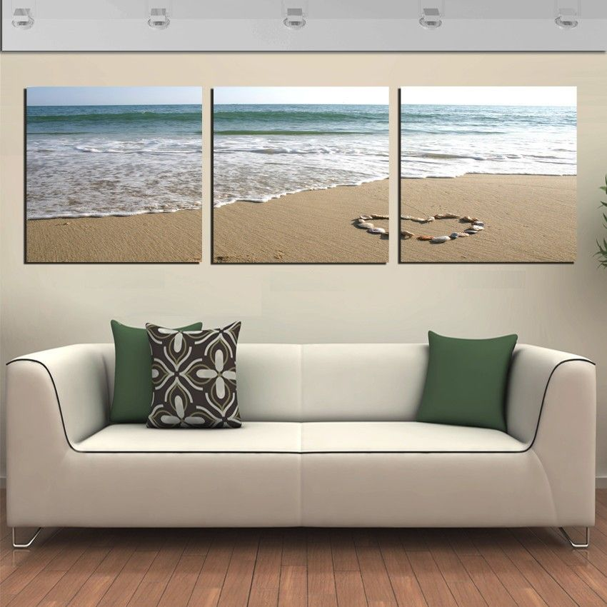 3 Panels Wall Art Pictures Romantic Beach Lovely Stone Seascape