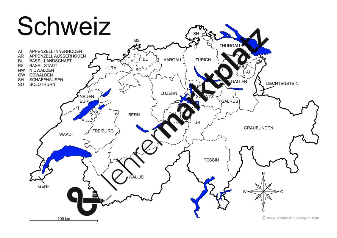 Schweiz Karte Schwarz Weiss.Landerkarten Schweiz 7 Verschiedene Karten A4