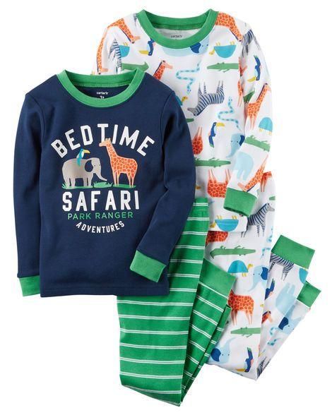 b6a5e7e4fadb 4-Piece Safari Snug Fit Cotton PJs