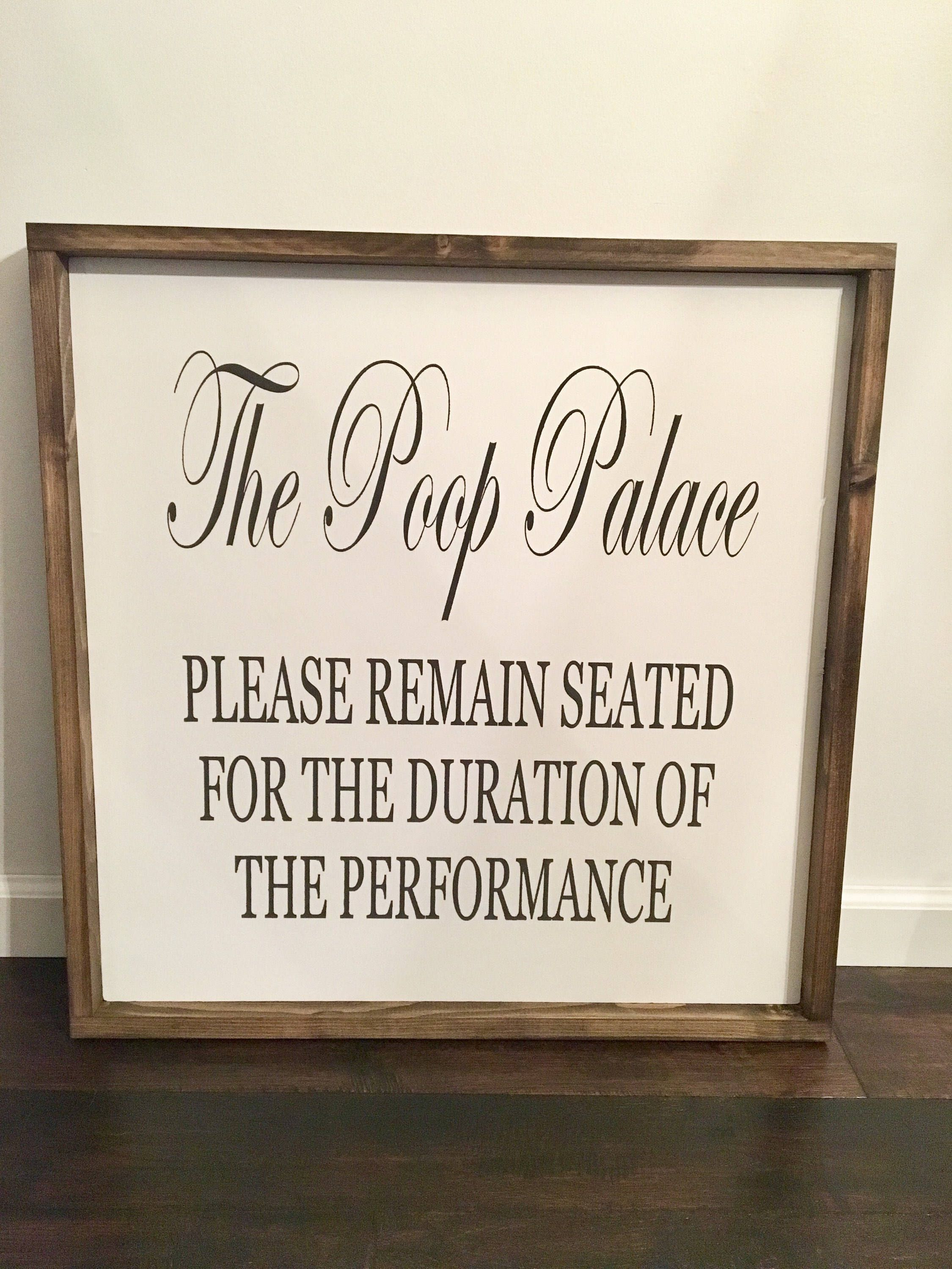Bathroom Poop Sign / The Poop Palace / Funny Bathroom Decor / Powder Room  Signs / Large Framed Signs