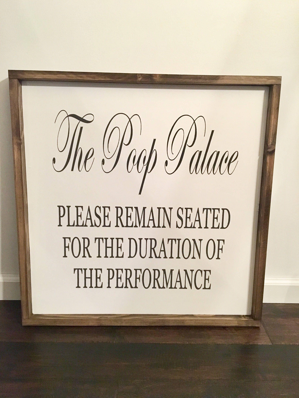 Bathroom Poop Sign / The Poop Palace / Funny Bathroom Decor / Powder Room  Signs / Large Framed Signs