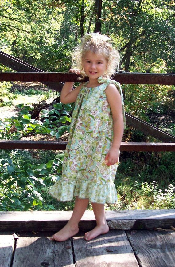 Green paisley flower pillowcase dress by lilbethkids on Etsy, $20.00
