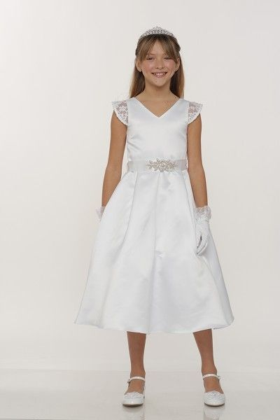 Elegant Satin Communion Dress with Stone Belt-48Elegant communion satin with 3D lace dress with cap sleeve and back lace, invisible size zipper closure. The detachable pearl, rhinestone organza sash belt.