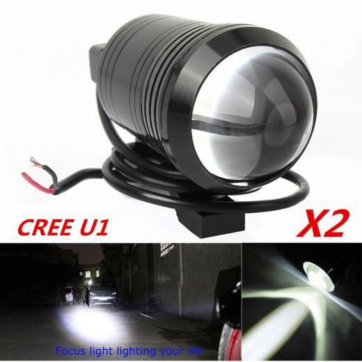 2x Cree U1 Lens Led Motorcycle Headlight Driving Fog Light Spot Lamp Free Switch Yes Aluminum White Deco Moto Led Moto