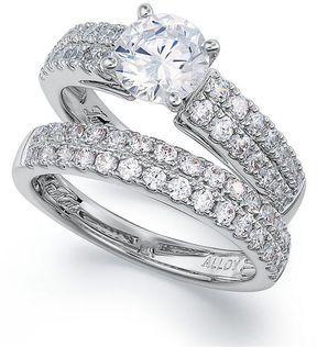 macys diamond rings set 14k white gold lucia cut diamond wedding band and engagement - Macys Wedding Rings