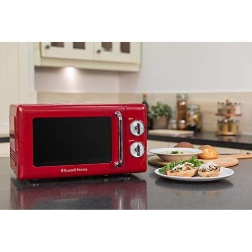 Small Microwave Oven Compact Red Kitchen Counter Top Caravan Cooking Liances