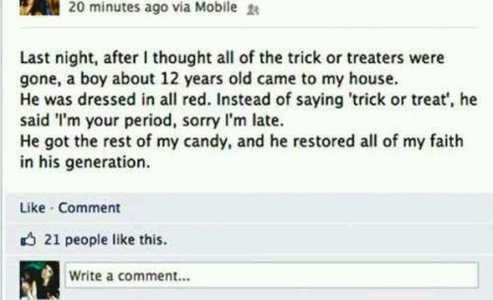 Trick or treat ok I'm dying! Hilarious!!