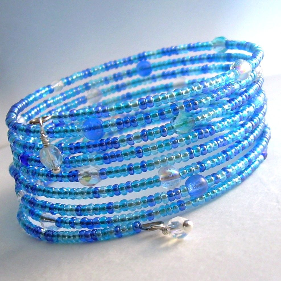 Aqua Blue Memory Wire Bracelet, Glass Beaded Cuff Bracelet, Cobalt ...