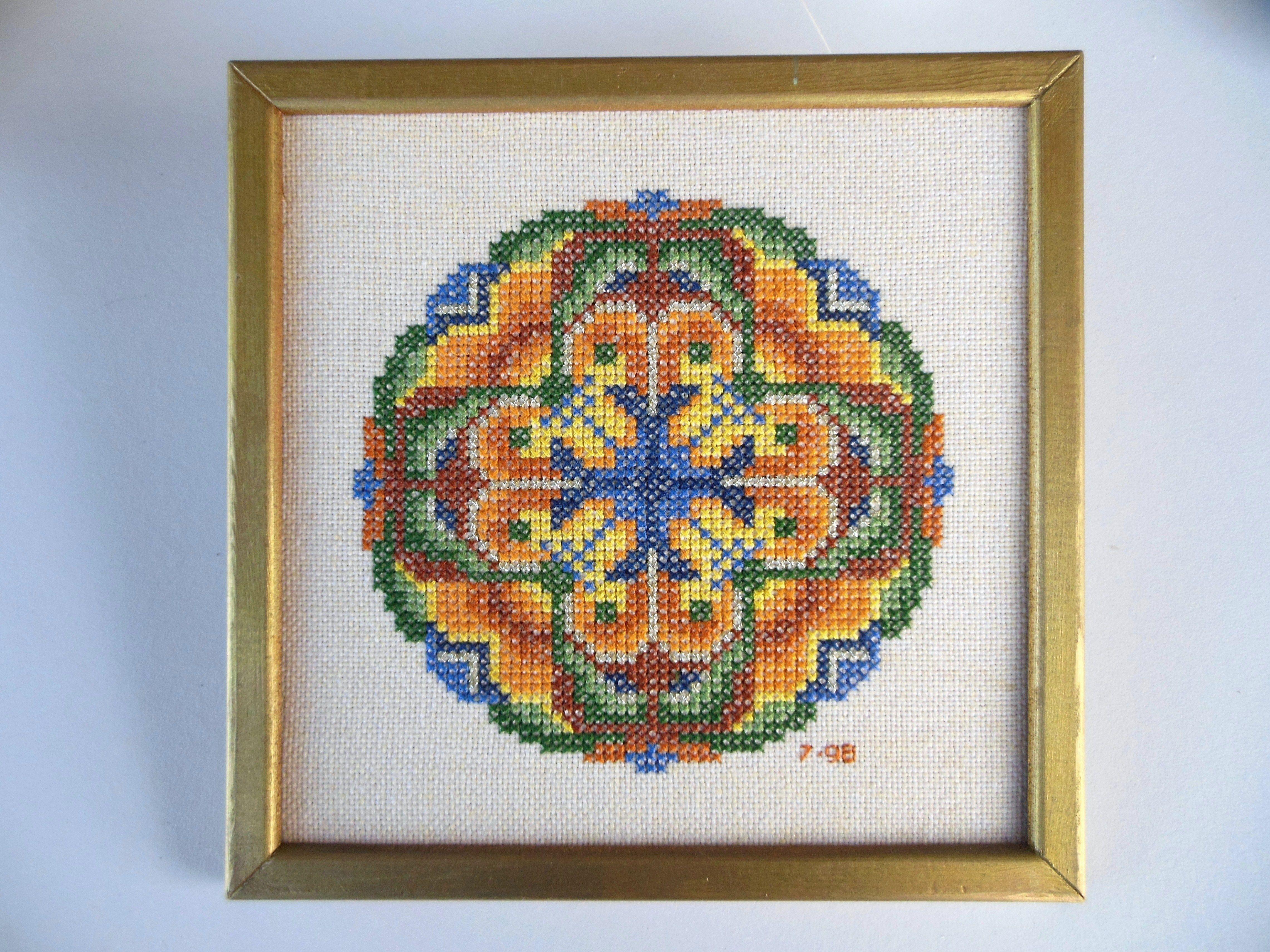 \u201cSpring\u201d Instant Download 11\u201d diameter Counted Cross-Stitch Pattern; Mandala for DMC floss