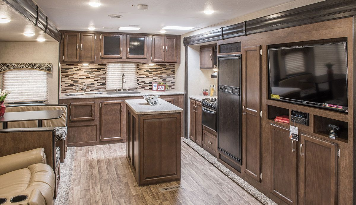 New 2017 Sport Trek 312VRK Rear Kitchen Travel Trailer. Kitchen Is Huge! It  Has An Island, A Full Wall Of Cabinets, A 3 Burner Stovetop With Oven, A  Sink, ...