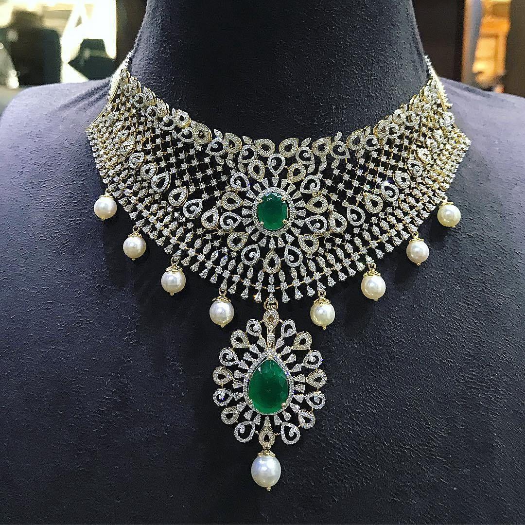 breathtaking heavy diamond necklace set designs indian jewelry