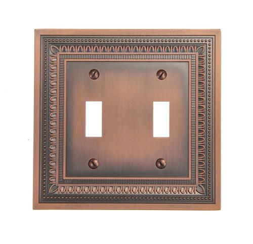 Amerelle Wall Plates Endearing Filigree Border Antique Copper Double Toggle Wallplate At Menards Design Decoration