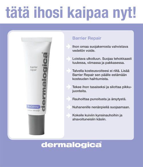 Pakkanen ja kuiva huoneilma rasittaa ihoa; iho kuivuu ja ärtyy helposti. Dermalogican Barrier Repair suojaa tehokkaasti ihoa.