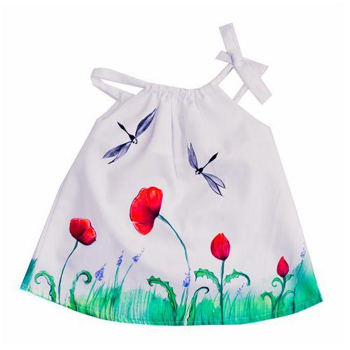Vestido para bebé confeccionado y pintado a mano. Made in Valencia (Spain)