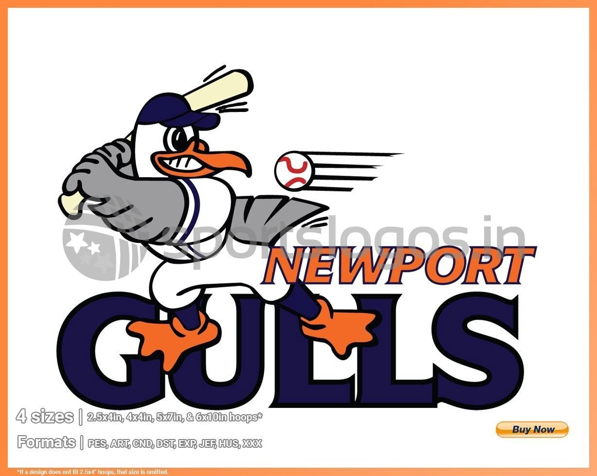 Newport Gulls Baseball Sports Embroidery Logo In 4 Sizes Spln003018 Sports Logos Embroidery Vector For Nfl Nba Nhl Mlb Milb And More In 2020 Sports Logo Baseball League Sports Baseball