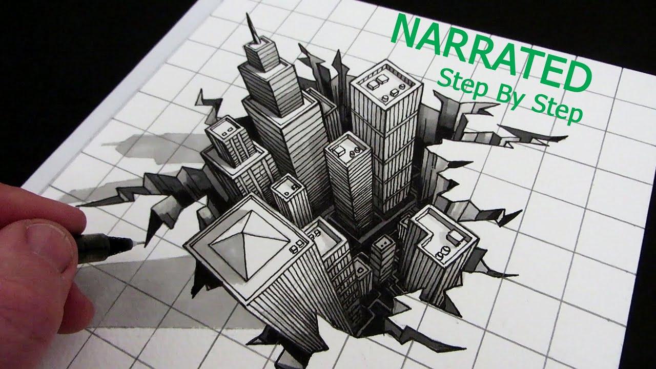 Earthquake Creative Drawings Google Search Illusion Drawings Optical Illusions Drawings City Drawing