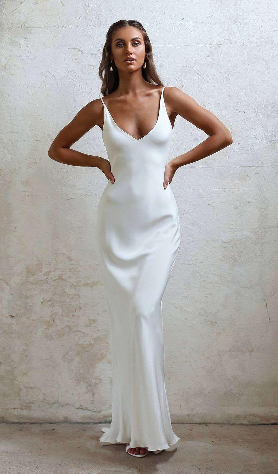 20 Elegant Slip Wedding Dresses For The Minimalist Bride Slip Wedding Dress Perfect Wedding Dress Wedding Dresses [ 1600 x 941 Pixel ]