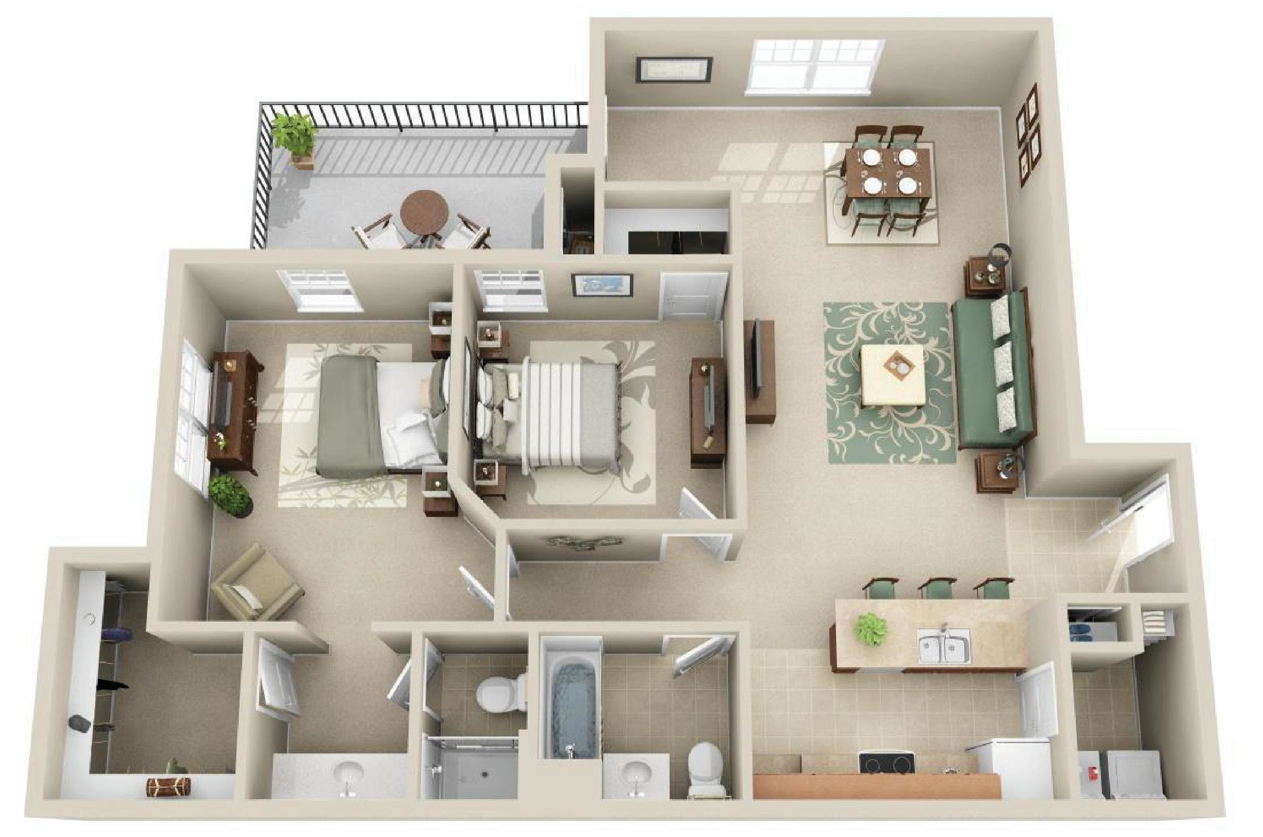 Our Wilshire B3 Floor Plan Hosts 1238 Sq Ft It Has 2 Bedrooms And 2 Bathrooms Architectural Floor Plans Sims House Design Small House Plans