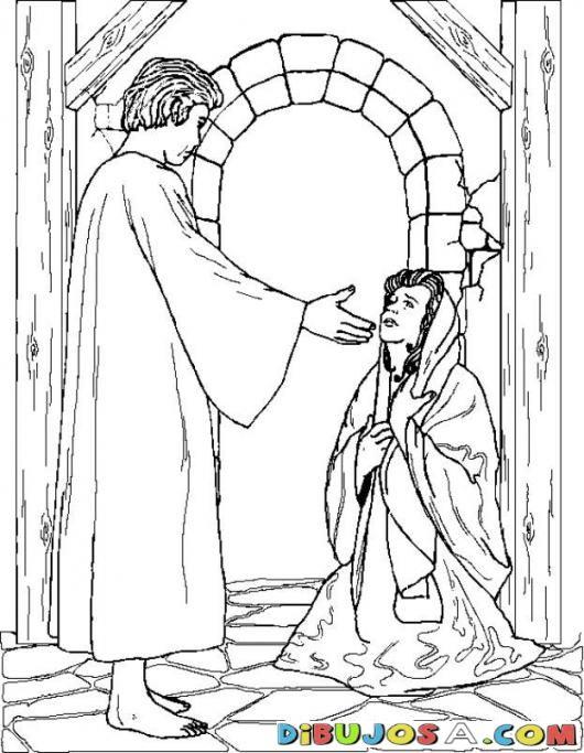 Colorear al Angel Gabriel con Maria | COLOREAR BIBLICOS | Dibujo ...