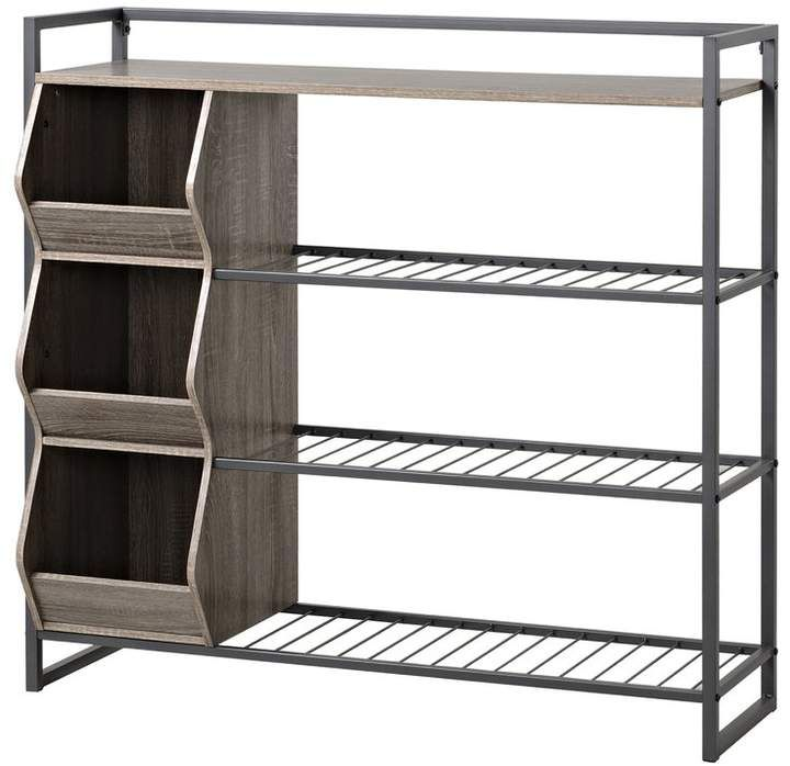 Homestar 12 Pair Shoe Rack Bench With Shoe Storage Wood Shoe Rack 4 Shelf Shoe Rack