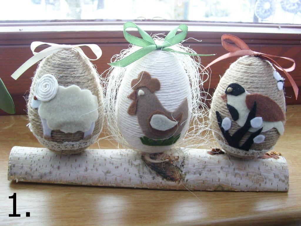 Piekne Jajka Pisanki Sznurkowe Ozdoby Wielkanocne 6733177767 Oficjalne Archiwum Allegro Easter Fabric Easter Egg Designs Easter Crochet