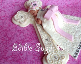 CHRISTENING Baby Girl Cake Topper Fondant CAKE TOPPER Baby