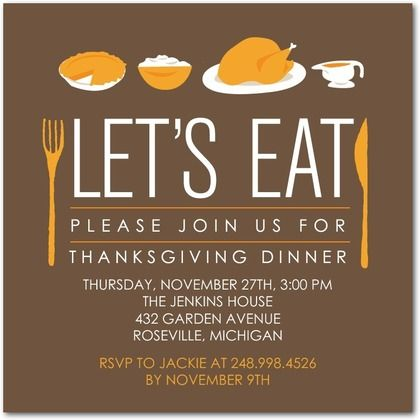 Modern Meal  Thanksgiving Party Invitation HttpWww