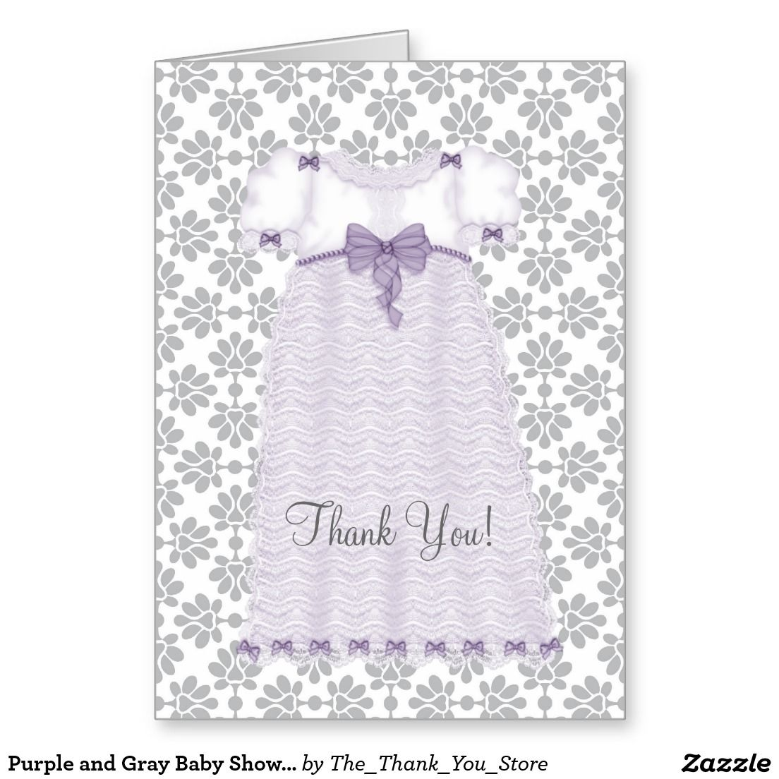 Purple and Gray Baby Shower Thank You Cards
