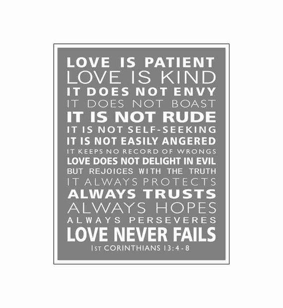 1st Corinthians 13 - Love Is Patient Christian Wall Art - Wall ...