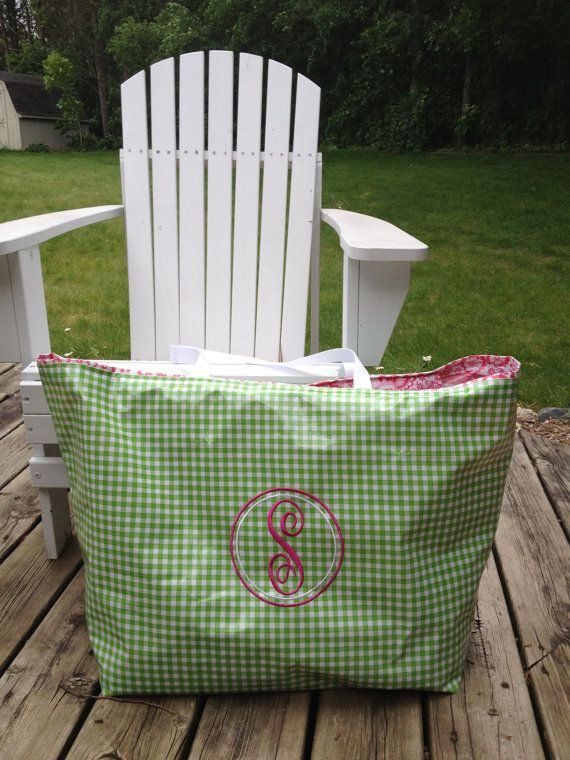 Extra Large Lime Green Gingham Waterproof Oilcloth Tote Bag Beach With Zipper And Pink Fl Toile Interior Fancy Circle Monogram