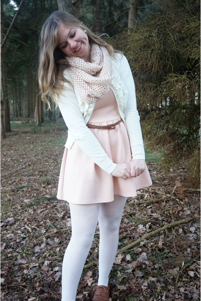 White dress with white tights.