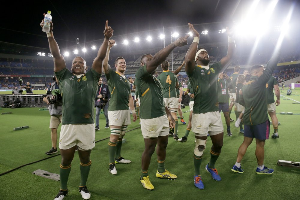 2019 Rugby World Cup South African Players Celebrate Their Win Over Wales In Semifinal In 2020 Rugby World Cup Rugby World Cup Final