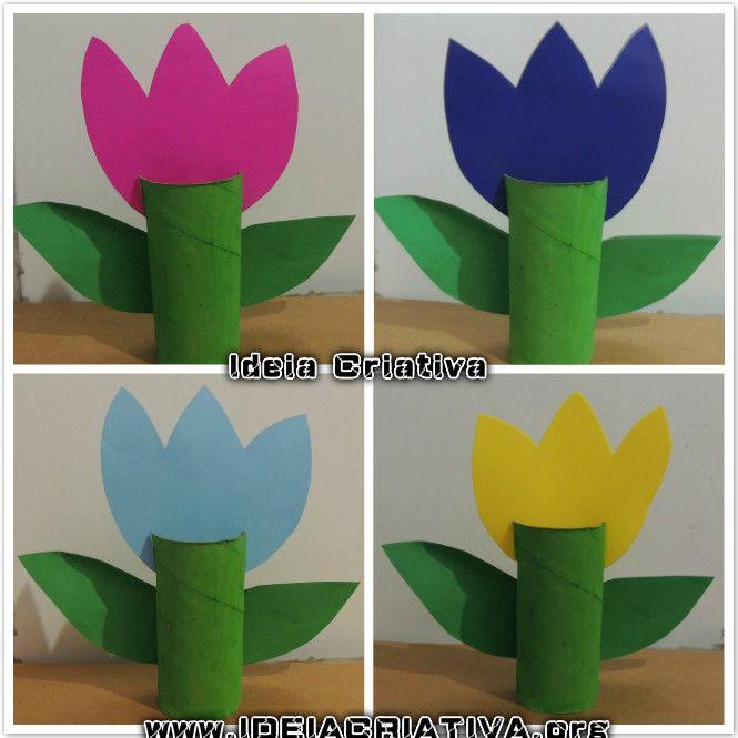 Tulpen aus klorollen basteln basteln fr hling basteln - Schulfest ideen ...