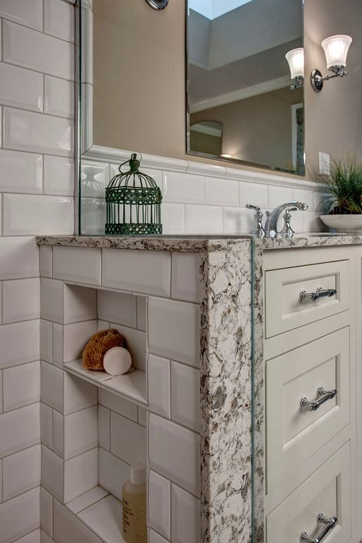 Traditional Master Bathroom with Inset cabinets, Wall sconce