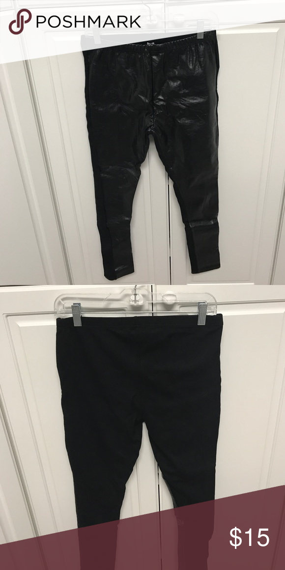Leather leggings size Medium NEVER worn! Leather front, soft cotton back leggings, never worn! Classic look! DSW Pants Leggings