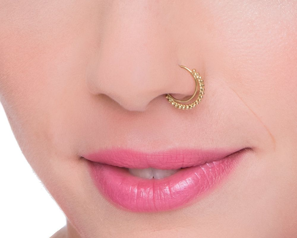 Tribal Nose Ring, Indian Nose Ring, Gold Nose Ring, Solid Gold ...