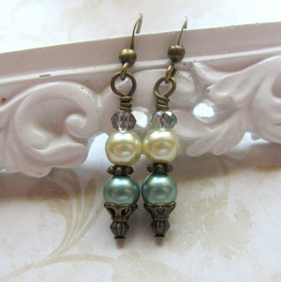 Green And Cream Pearl Earrings, Pearl Dangle Earrings, Sage Green Earrings,  Vintage Style