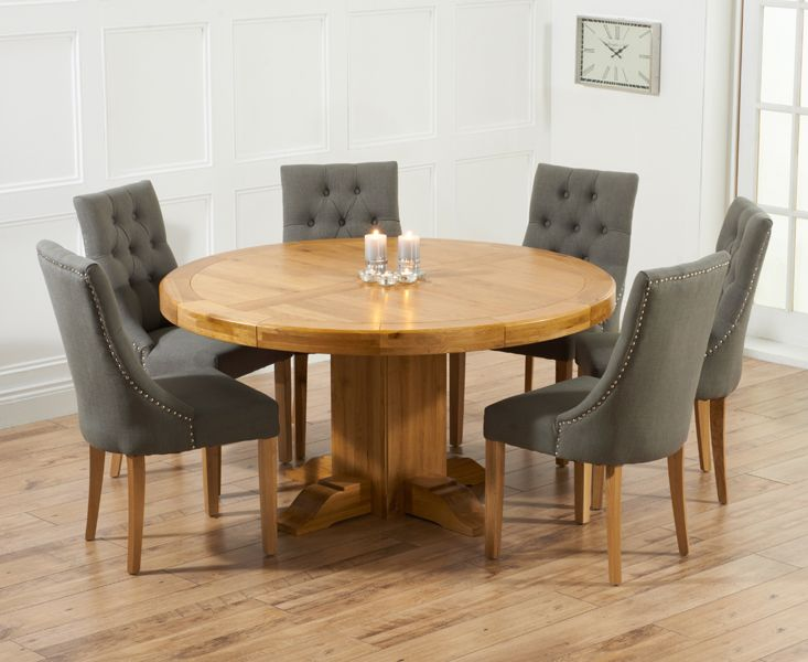 Torino 150Cm Solid Oak Round Pedestal Dining Table With Pacific Entrancing Dining Room Chairs Oak Review