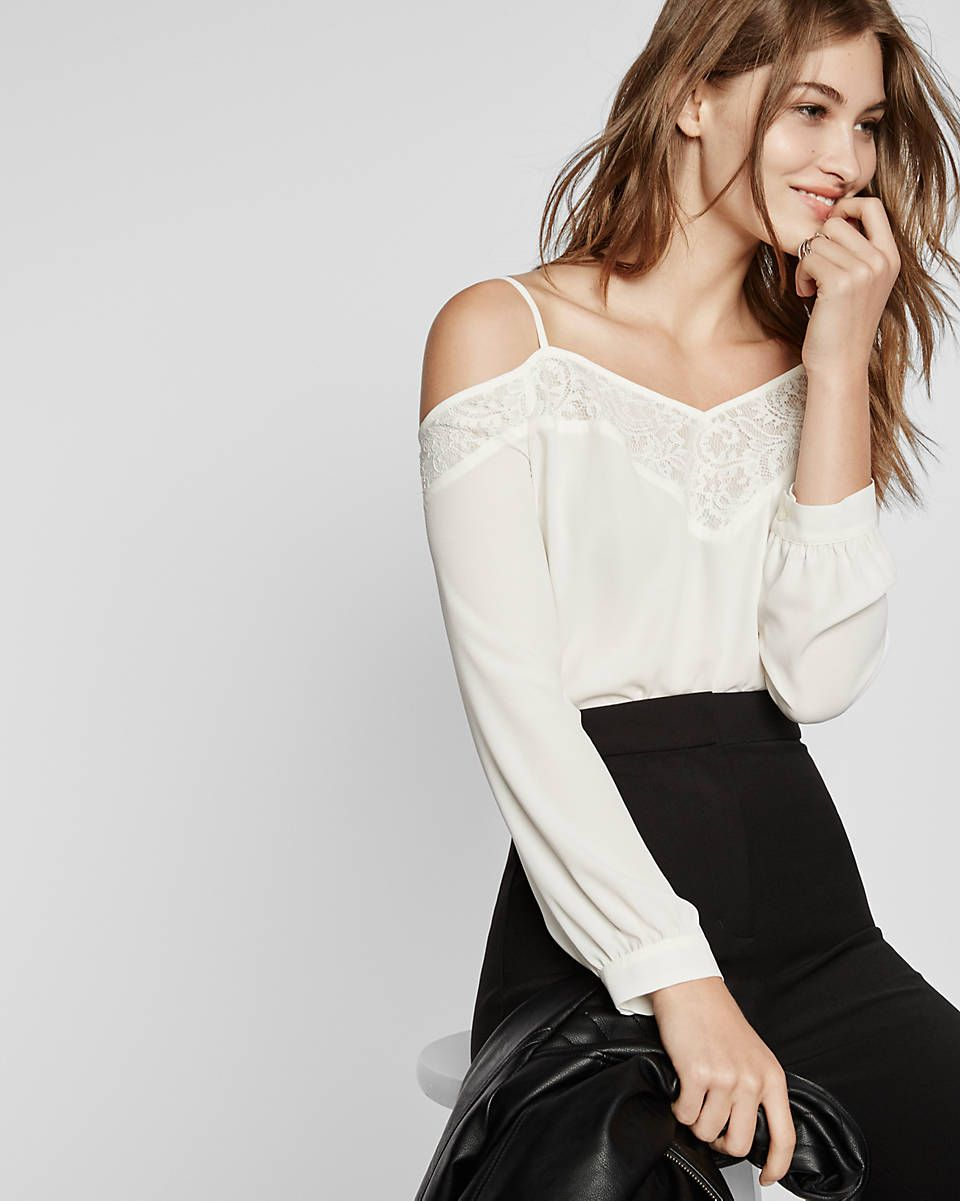 Cold Shoulder Lace Trim Long Sleeve Blouse | Overpack - It\'s why ...