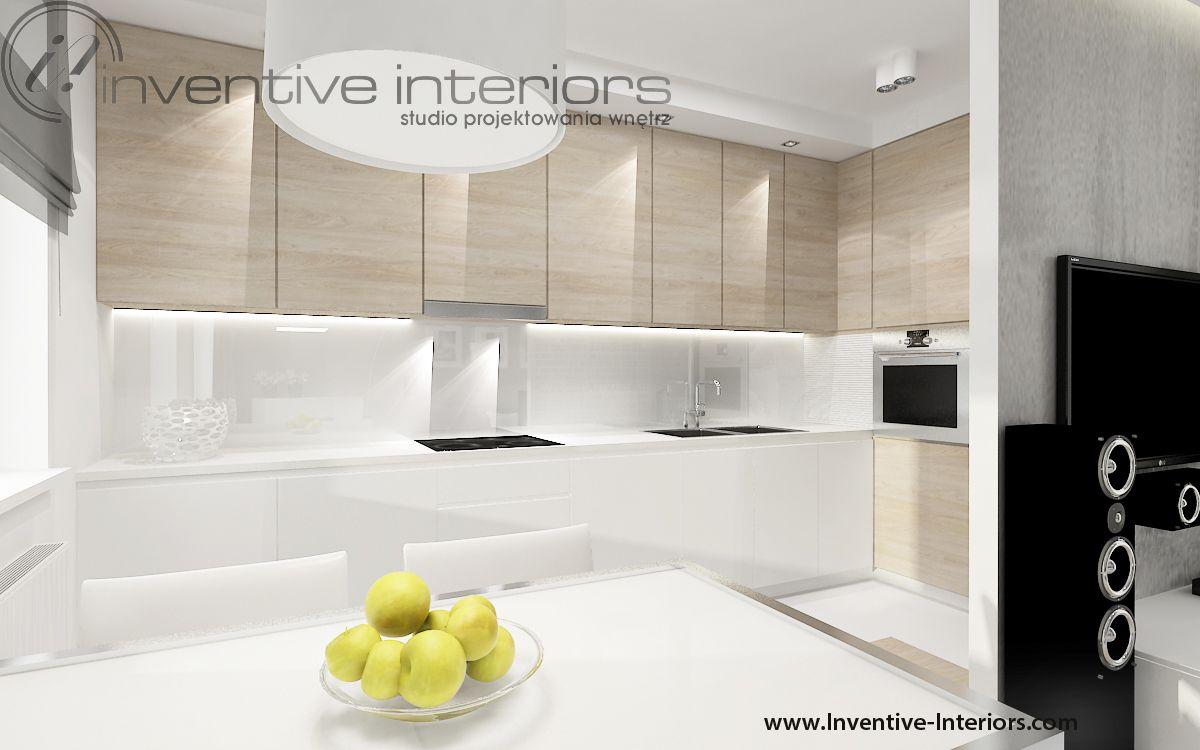 Projekt kuchni Inventive Interiors  biała kuchnia z   -> Kuchnia Biala Matowa Z Drewnem
