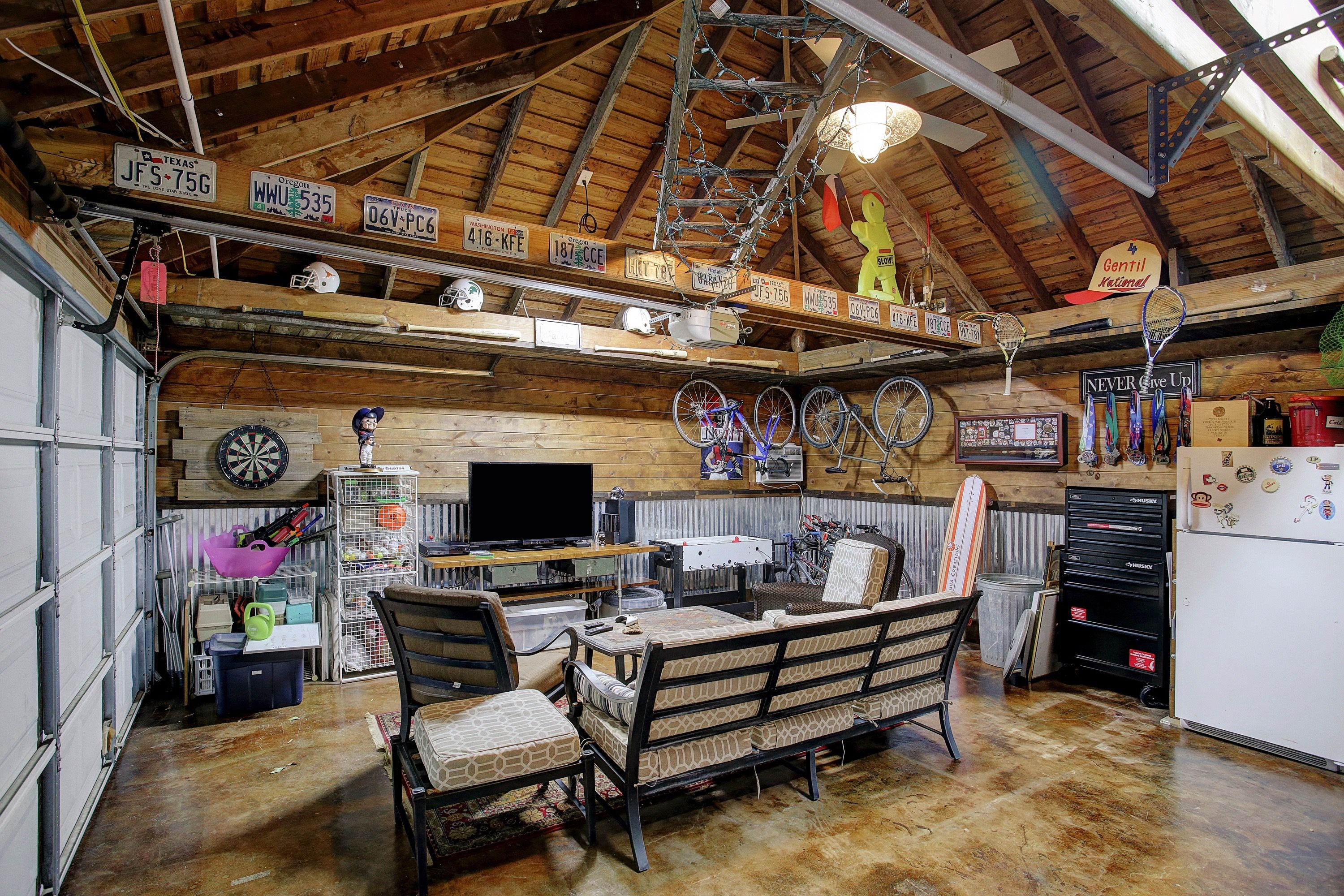 Outdoor garage remodel - man cave | Outdoor Living in 2019 ... on Man Cave Patio Ideas  id=83700